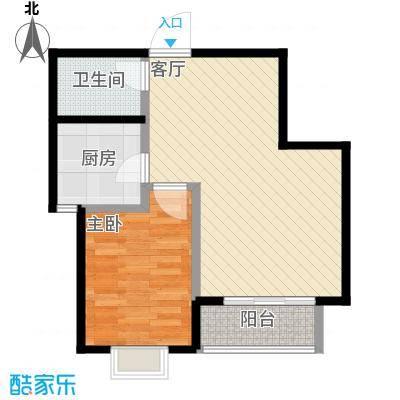 裕馨城二期67.18㎡e户型1室2厅1卫