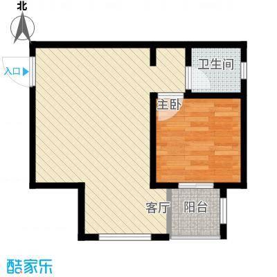 裕馨城二期56.16㎡f户型1室2厅1卫