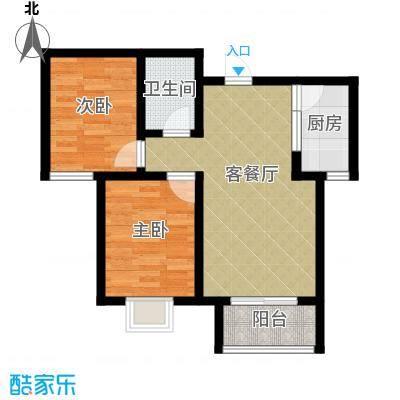 学府名城81.52㎡1号楼b户型2室2厅1卫