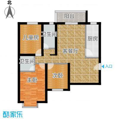 星湖国际花园122.24㎡A户型3室1厅2卫1厨