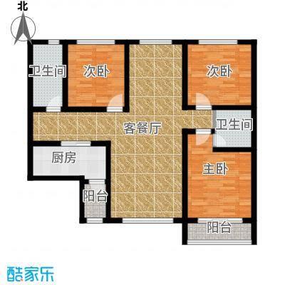 星湖国际花园104.13㎡A1户型3室1厅2卫1厨