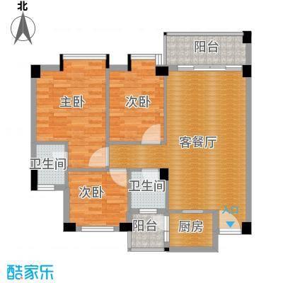 西堤国际花园88.90㎡17栋01、04单位户型3室1厅2卫1厨
