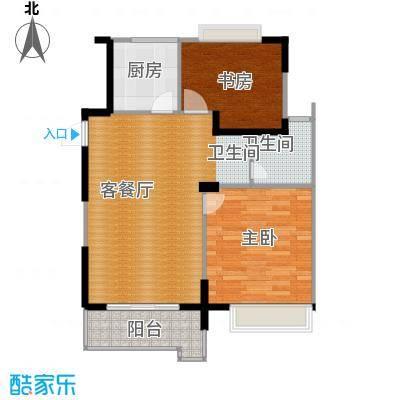 上城风景65.57㎡H户型2室1厅1卫1厨