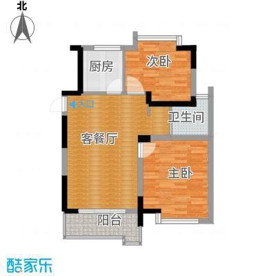 上城风景68.06㎡户型2室1厅1卫1厨