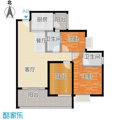 碧桂园城市花园105.74㎡中区4座26/28/30层02户型2室1厅2卫1厨