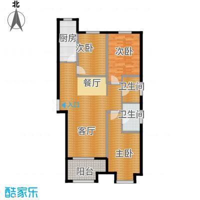 百岛绿城136.07㎡13号楼A1户型3室2厅2卫