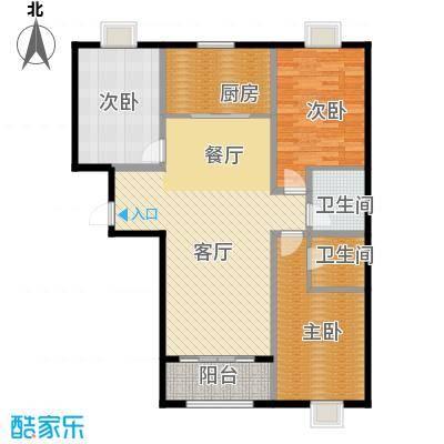 百岛绿城131.05㎡8号A1户型3室2厅2卫