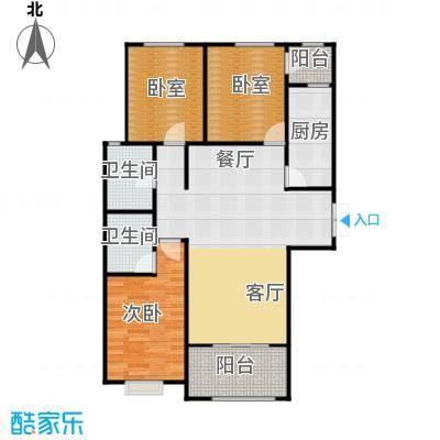 百岛绿城129.83㎡13号楼A3户型3室2厅2卫