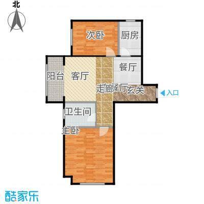 汇君城92.50㎡13号楼F2户型2室1厅1卫1厨