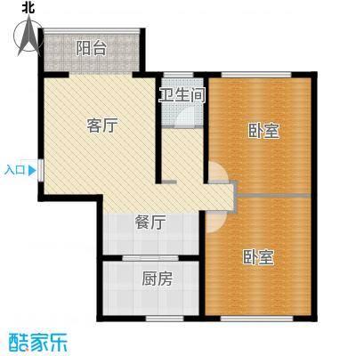 青春水岸104.19㎡A位于5号楼户型2室1厅1卫