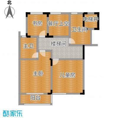 凤凰山庄115.00㎡一期叠加别墅A二楼户型3室2卫