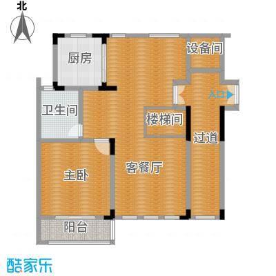 凤凰山庄102.60㎡一期叠加别墅B一楼户型1室2厅1卫