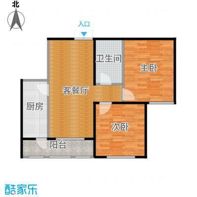 金域蓝城62.80㎡一期高层两居//户型2室1厅1卫1厨