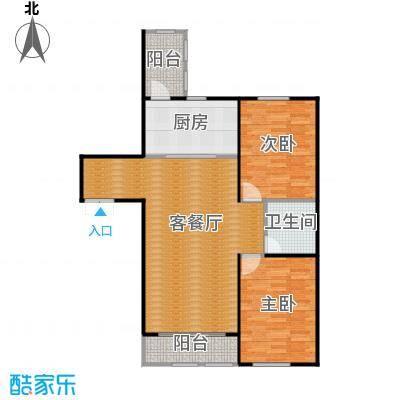 金域蓝城86.38㎡一期高层两居户型2室1厅1卫1厨