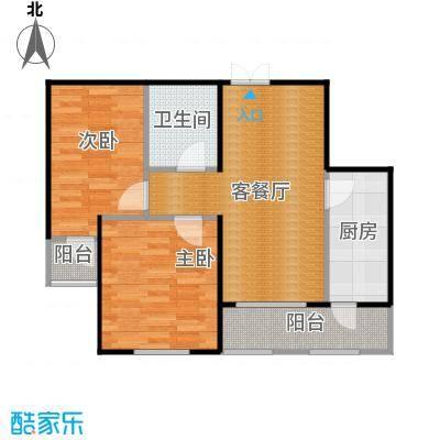 金域蓝城61.18㎡一期高层两居户型2室1厅1卫1厨