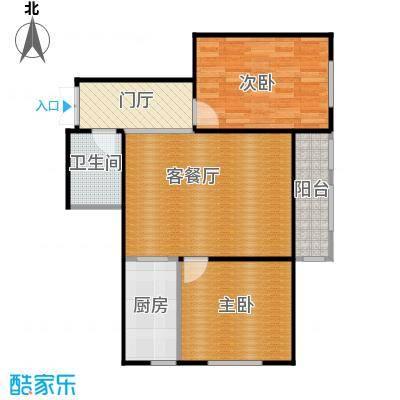 金域蓝城68.15㎡一期高层两居户型2室1厅1卫1厨