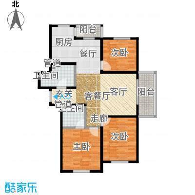 金域蓝城二期G8三居户型3室1厅2卫