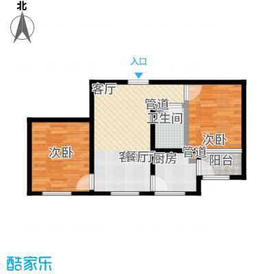 金域蓝城二期G8两居户型2室1厅1卫1厨