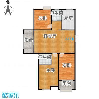 东方曼园116.00㎡一期J户型3室2厅2卫