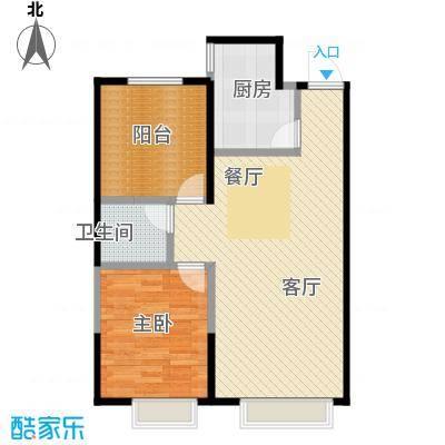金地名京82.00㎡E1户型2室2厅1卫