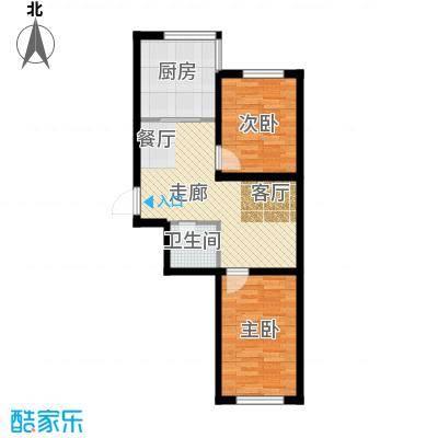 瀛滨寓家园64.29㎡户型2室1卫1厨