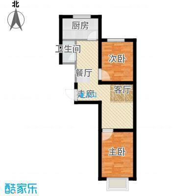 瀛滨寓家园65.40㎡户型2室1卫1厨