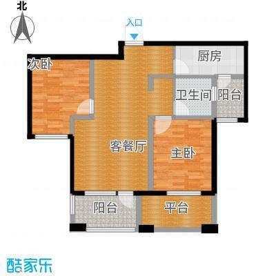 国赫红珊湾90.74㎡8号楼B户型2室2厅1卫