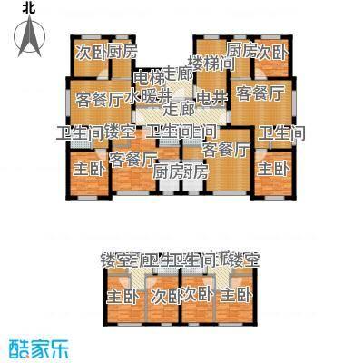 浅草绿阁八期水岸枫庭243.91㎡5号楼16层E2F2跃层户型10室