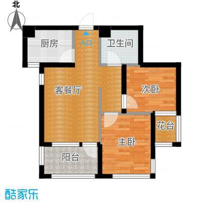 乐城72.66㎡G10a户型2室2厅1卫