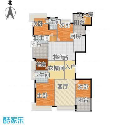 恒大华府316.14㎡15/16号楼3单元五室户型5室3卫1厨