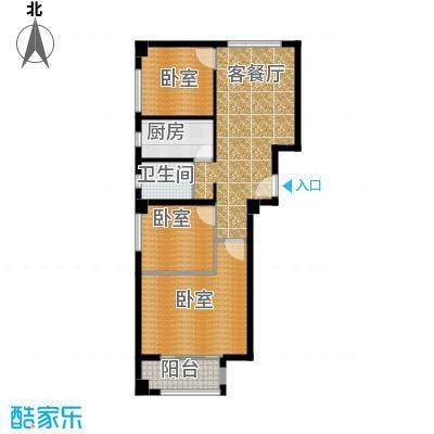 国际总部花园119.00㎡B1户型3室1厅1卫