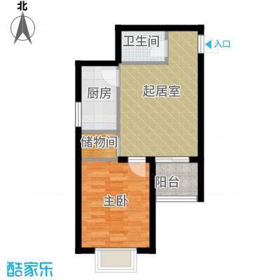 锦运名都56.84㎡二号楼2单元F1室户型1室1厅1卫