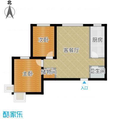 锦运名都81.45㎡二号楼2单元E2室户型2室2厅1卫