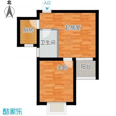 锦运名都55.40㎡二号楼2单元H1室户型1室1厅1卫