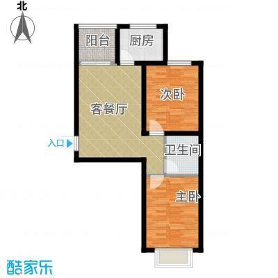 锦运名都85.01㎡二号楼2单元I2室户型2室2厅1卫