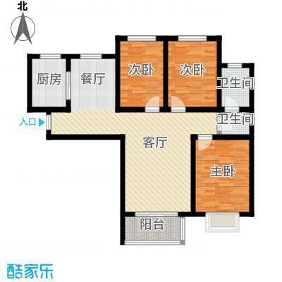 锦运名都115.33㎡二号楼1单元D3室户型3室2厅2卫