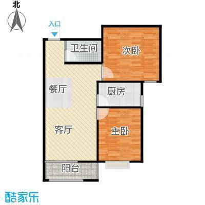 绿朗时光85.67㎡8号楼B户型2室2厅1卫