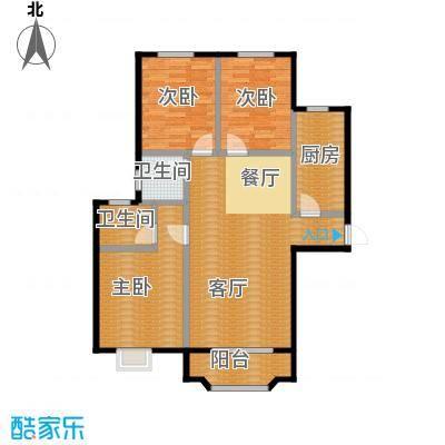 美树湾124.99㎡B/1型户型3室2厅2卫