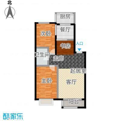 和泰馨城2室2厅1卫1厨 面积:91.55-95.30平方米户型