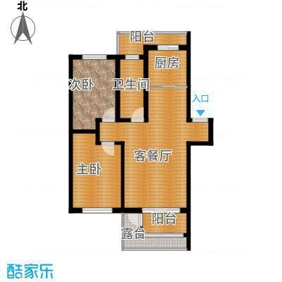 水墨丹青砚池96.40㎡一组图1#2#楼三层B户型2室1厅1卫1厨
