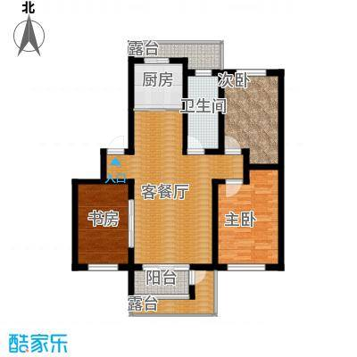 水墨丹青砚池107.40㎡一组图1#2#楼三层C户型3室1厅1卫1厨