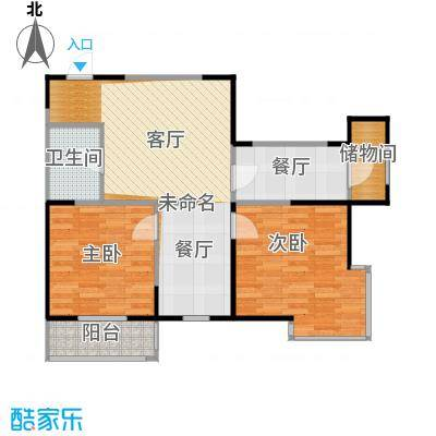 溪湖芳庭85.12㎡B2-B户型2室2厅1卫