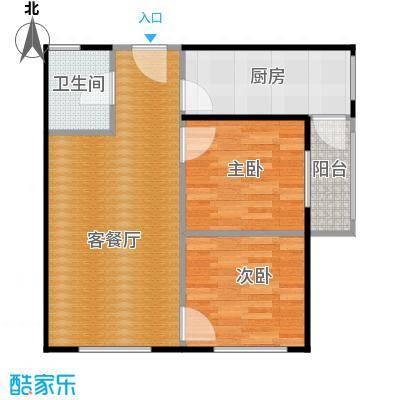 红龙湾84.29㎡b户型2室2厅1卫