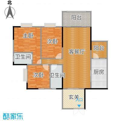 海悦新城99.86㎡户型3室1厅2卫1厨