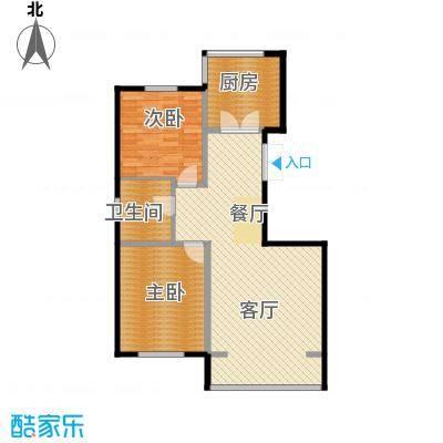 纳帕名门95.29㎡高层G10户型2室2厅1卫