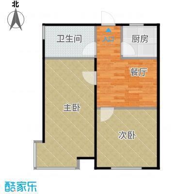 惠盛苑74.00㎡房型户型2室1厅1卫1厨