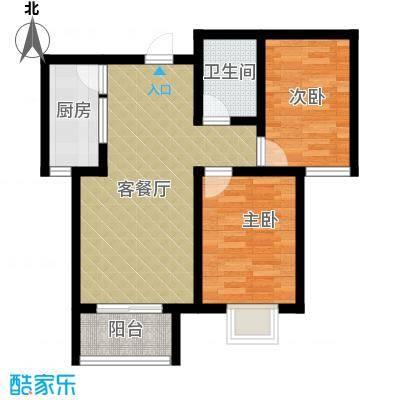 学府名城81.77㎡2号楼b户型2室2厅1卫