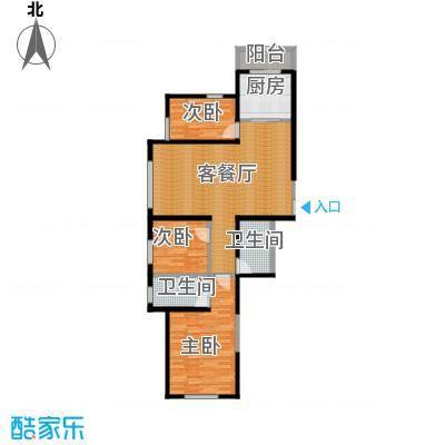 碧桂园凤凰城117.12㎡高层户型3室2厅2卫