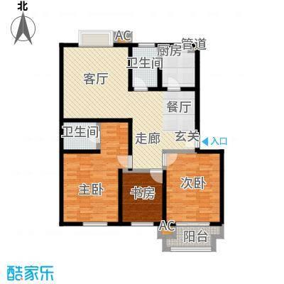 北城世家户型3室1厅2卫1厨
