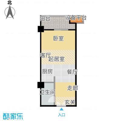 华银国际47.24㎡B户型1室1厅1卫